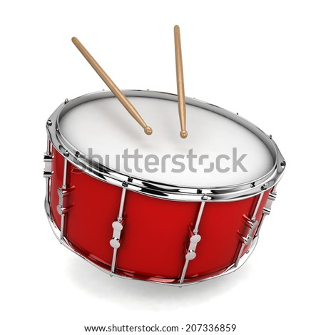 Bass drum. 3d illustration isolated on white background  - stock photo