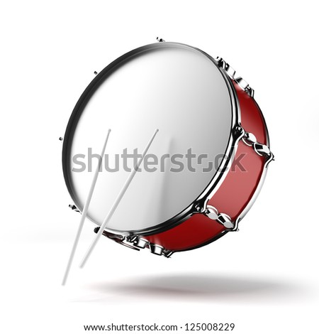 Bass drum isolated on a white background - stock photo