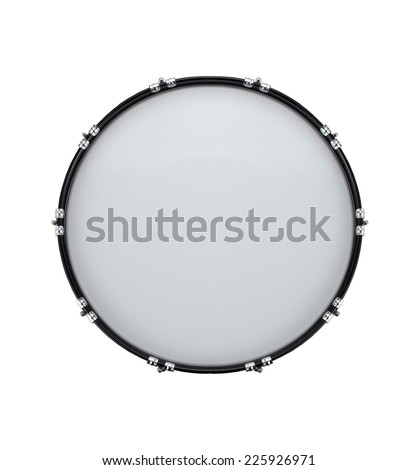 bass drum isolated on white in the closeup - stock photo