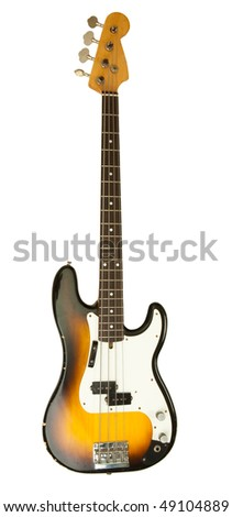 Bass guitar isolated on white - stock photo