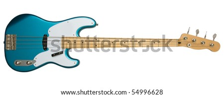 bass guitar with clipping path - stock photo