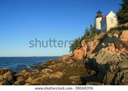 Bass Harbor Light House at low tide on Mount Desert Island in Acadia National Park, Maine