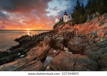 Bass Harbor Lighthouse at sunset - stock photo