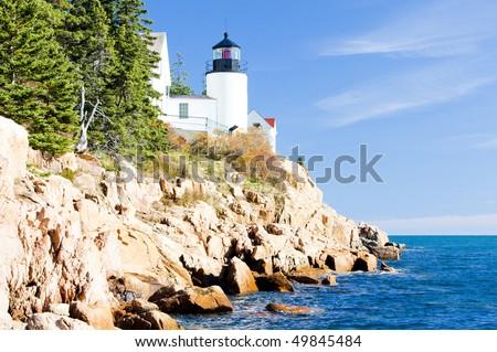Bass Harbor Lighthouse, Maine, USA - stock photo