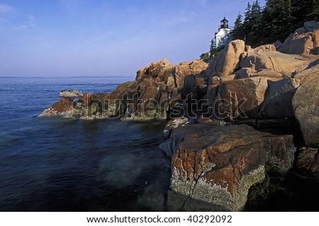 Bass Head Lighthouse in Acadia National park, Maine. - stock photo