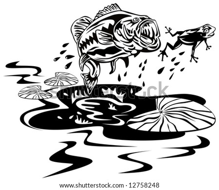 Bass jumping to catch frog - stock photo