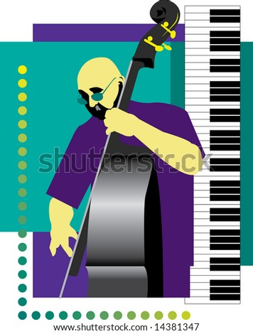Bass Player - stock photo