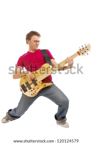 Bass player, isolated over white background - stock photo