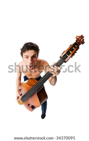 Bass viol player isolated on white background