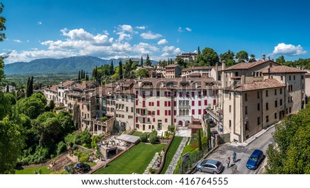 BASSANO DEL GRAPPA, ITALY: CIRCA MAY 2016 : ASOLO HILL TOWN PANORAMIC