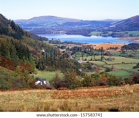 Bassenthwaite Lake surrounded by rolling hills and fields, and whitewashed houses, Bassenthwaite, Lake District, Cumbria, England, UK, Western Europe. - stock photo