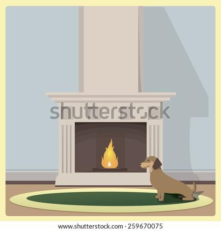 Basset Hound near the fireplace on green carpet - stock photo