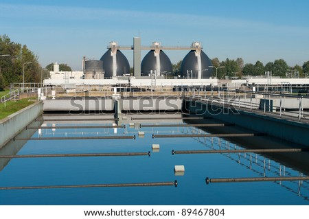 bassin where the wasted water is being filtered - stock photo