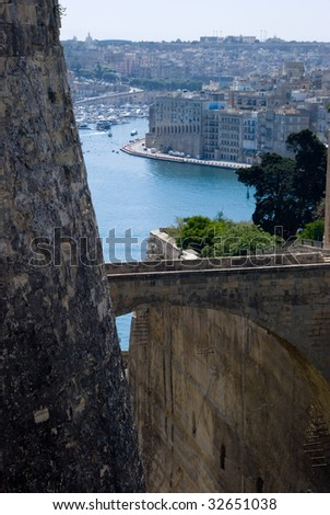 Bastion Detail looking on to The Grand harbor, Malta - stock photo