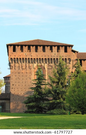 Bastion of Sforzesco castle in Milan, Italy - stock photo