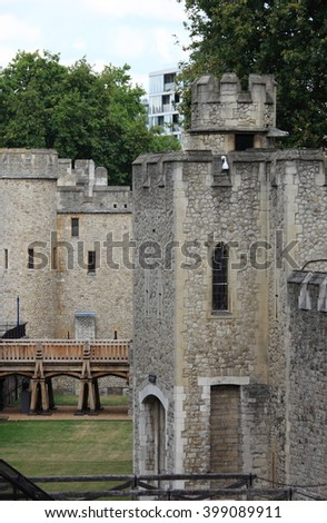 Bastion of the stone fortress of the Tower of London, UK - stock photo