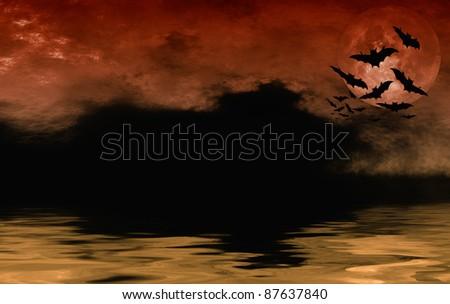 Bat flying over full moon halloween background - stock photo