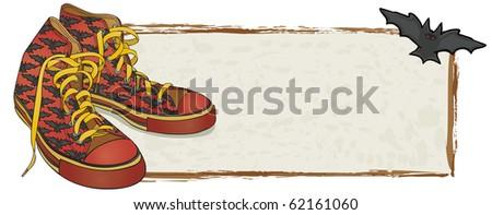 Bat Sneakers Banner - Raster Version - stock photo