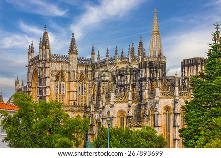 Batalha Dominican medieval monastery, Portugal - great masterpieces of Gothic art. UNESCO World Heritage - stock photo