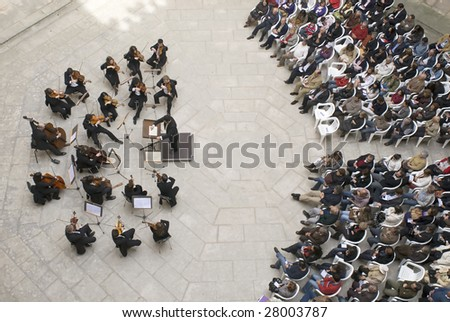 "BATALHA ,PORTUGAL - APRIL 5:in Capelas imperfect, an Easter concert of the Philharmonic of Beiras,which interprets ""The Seven Last Words of Christ on the Cross,""on April 5,2009 in Batalha,Portugal. - stock photo"