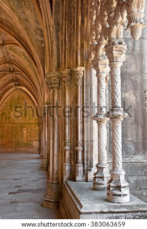 BATALHA, PORTUGAL - 22 JUNE, 2010: Interior of the Monastery of Batalha on 22 June. It is a Dominican medieval monastery in Portugal, a great masterpieces of Gothic art.