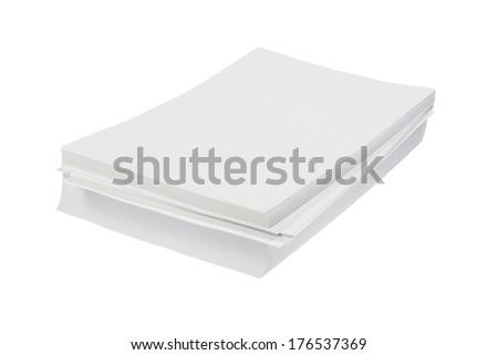 Batch of blank white Din A4 Paper isolated on white background