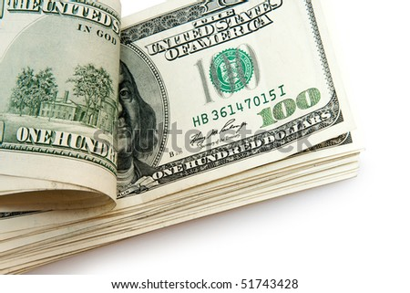 batch of dollars isolated on white - stock photo