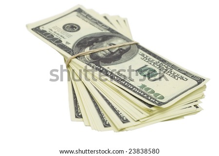 batch of false 100-dollar bills tied with rubber band against white background, isolated