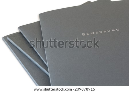 Batch of job application files isolated on white background - stock photo
