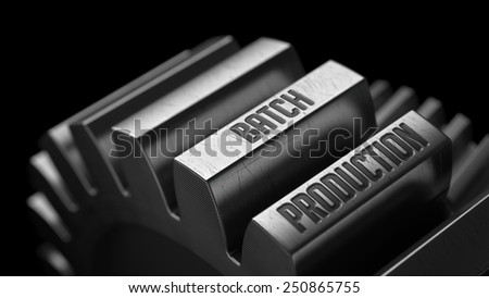 Batch Production on the Metal Gears on Black Background.  - stock photo