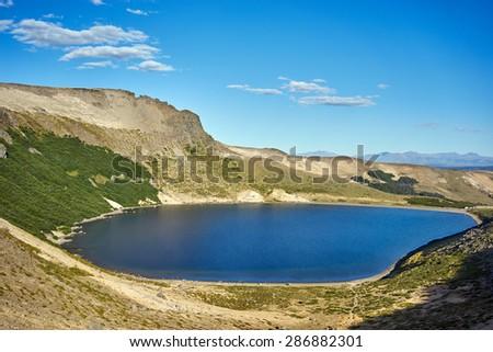 Batea Mahuida volcano crater, on Patagonia, Argentina, Villa Pehuenia - stock photo