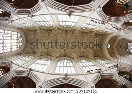 Bath Abbey, Bath, England. 17th century Fan vaulted ceiling. - stock photo
