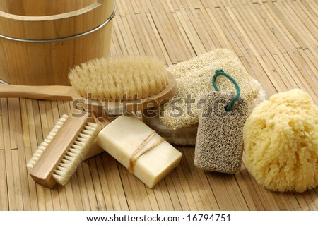 bath accessories on the bamboo mat - stock photo