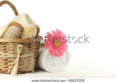 Bath accessories over white - stock photo