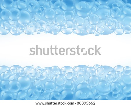 Bath bubbles and transparent bathing soap suds with blank area in the middle for text with wet natural foam floating as clean blue sphere symbols of washing and freshness. - stock photo