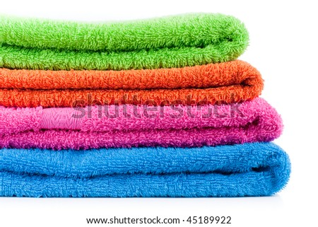 Bath colorful towels. Stack into one pile