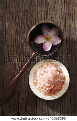 bath concept salt and the frangipani flower - stock photo