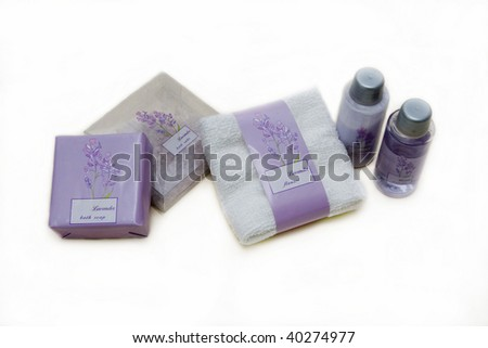 bath cosmetics - lavender body care lotion salt, shower gel, flannel and soap