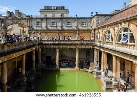 Bath, England   22 July 2016 : People Walking Around Roman Bath, Bath,