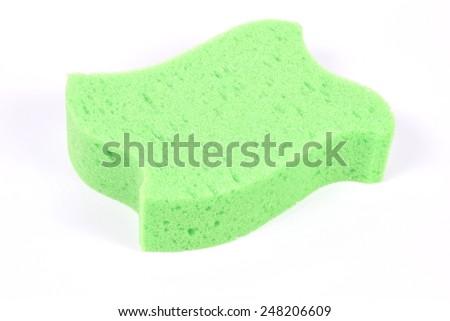 Bath green sponge on white background - stock photo