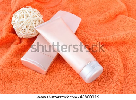 Bath items for shower on a towel - stock photo
