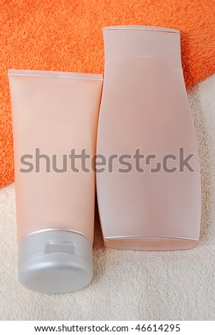 Bath items for shower with a towels - stock photo