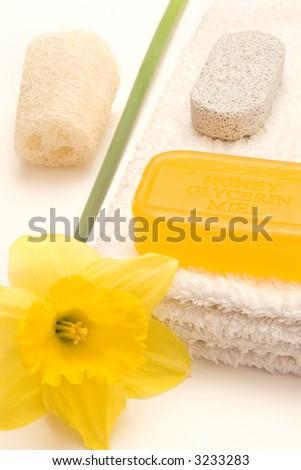 Bath items with daffodil - stock photo