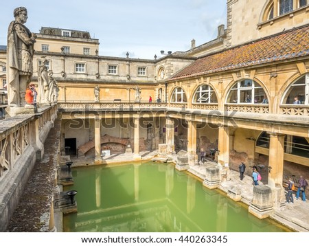 BATH   MAY 19 : Roman Bath, The UNESCO World Heritage Site, With Green