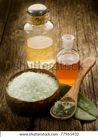 bath minerals mud and oil massage - stock photo