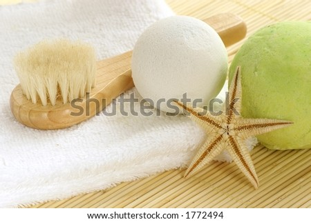 Bath salt and brush