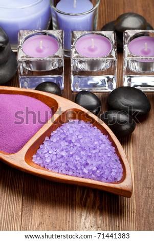 Bath salt for aromatherapy - stock photo