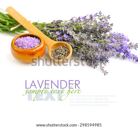 Bath salt for aromatherapy and fresh flowers lavender - stock photo