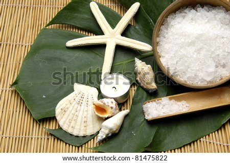 bath salt in bowl and seashell with candle and monstera leaf on woven mat - stock photo