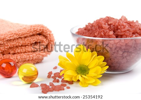 bath salt, towels and yellow flower